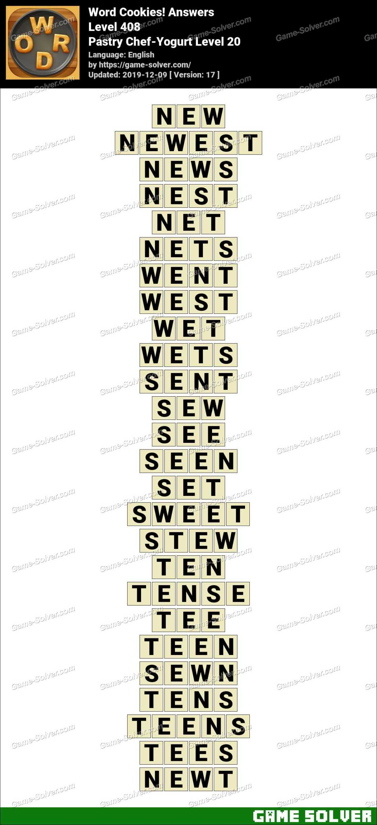 Word Cookies Pastry Chef-Yogurt Level 20 Answers