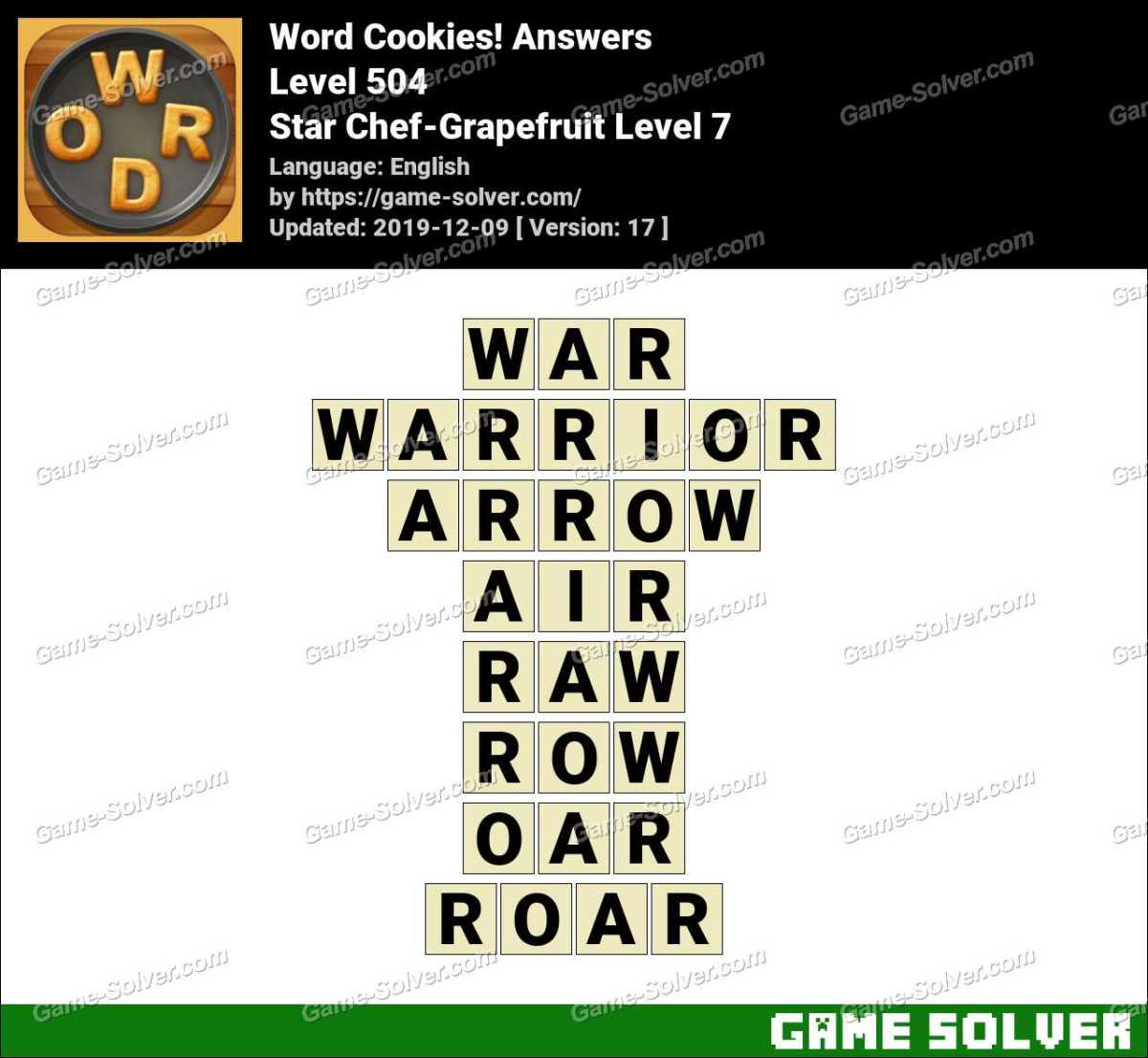 Word Cookies Star Chef-Grapefruit Level 7 Answers