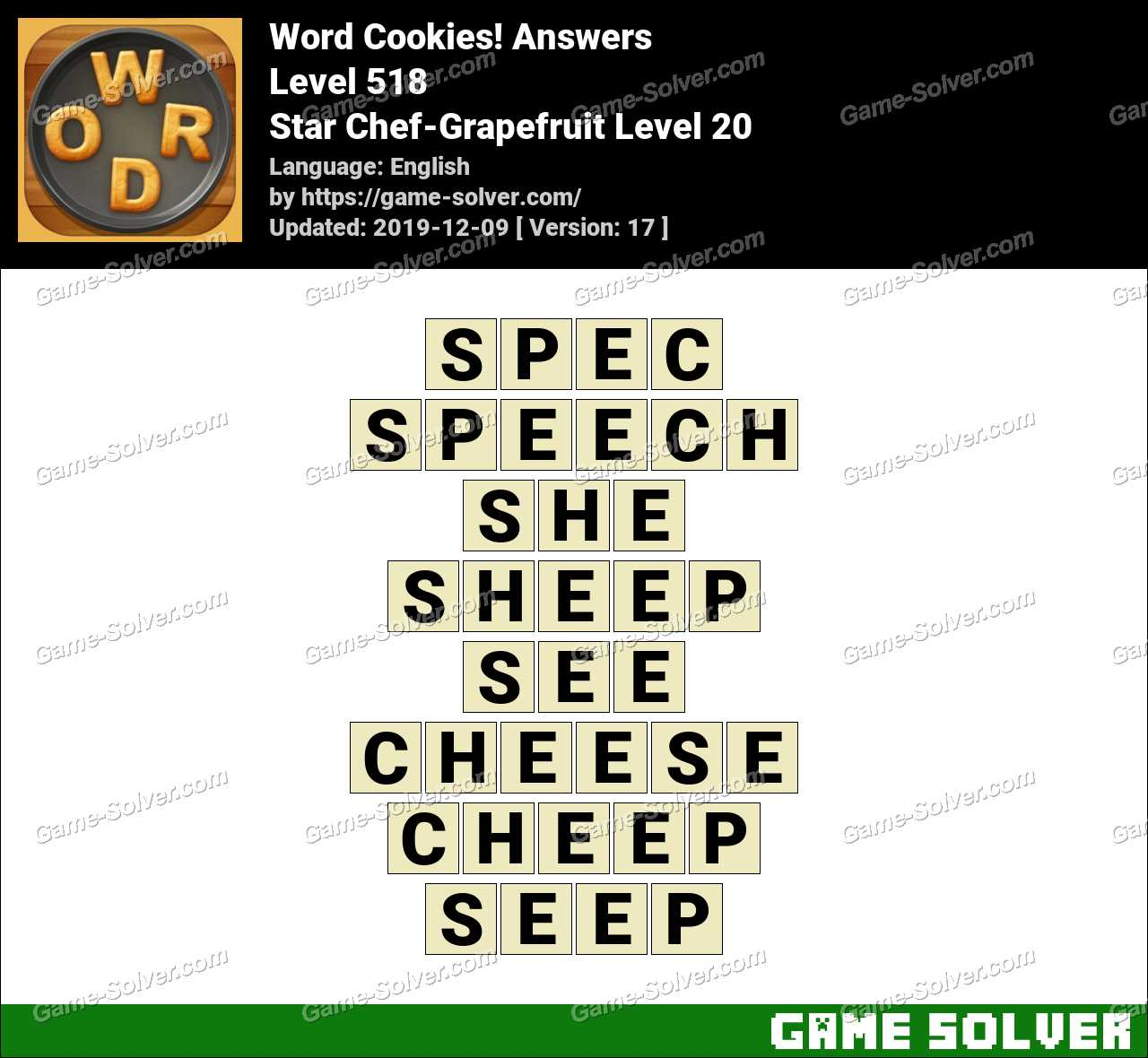Word Cookies Star Chef-Grapefruit Level 20 Answers