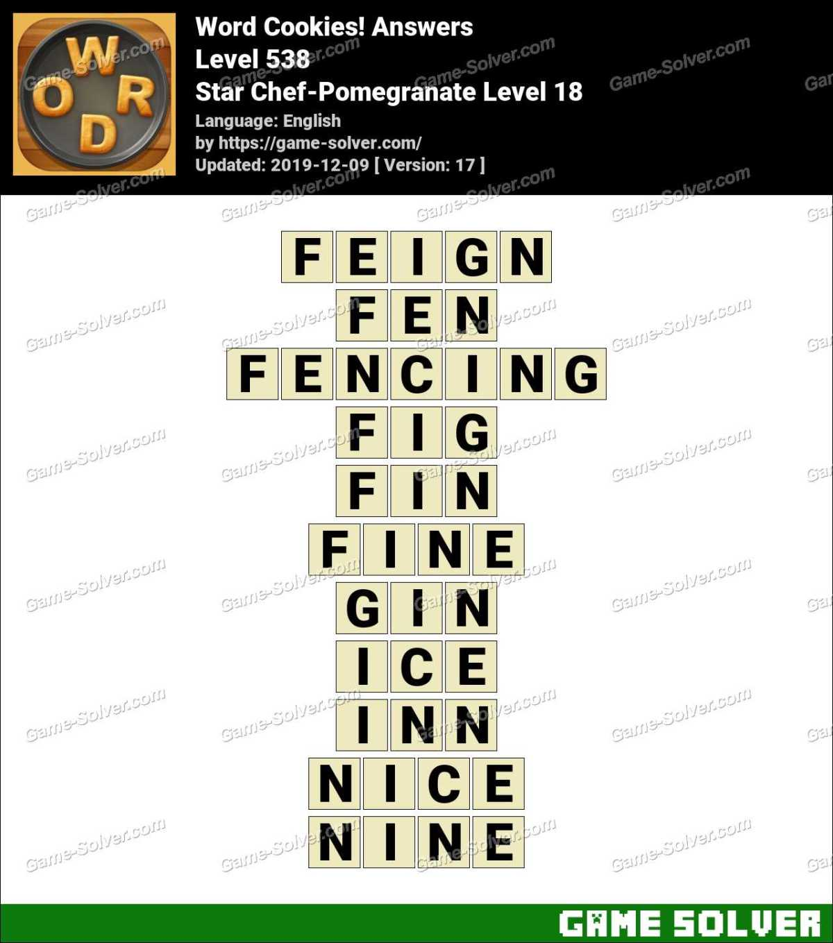 Word Cookies Star Chef-Pomegranate Level 18 Answers