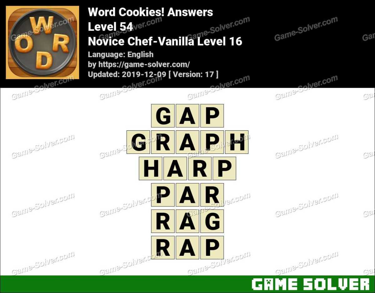 Word Cookies Novice Chef-Vanilla Level 16 Answers