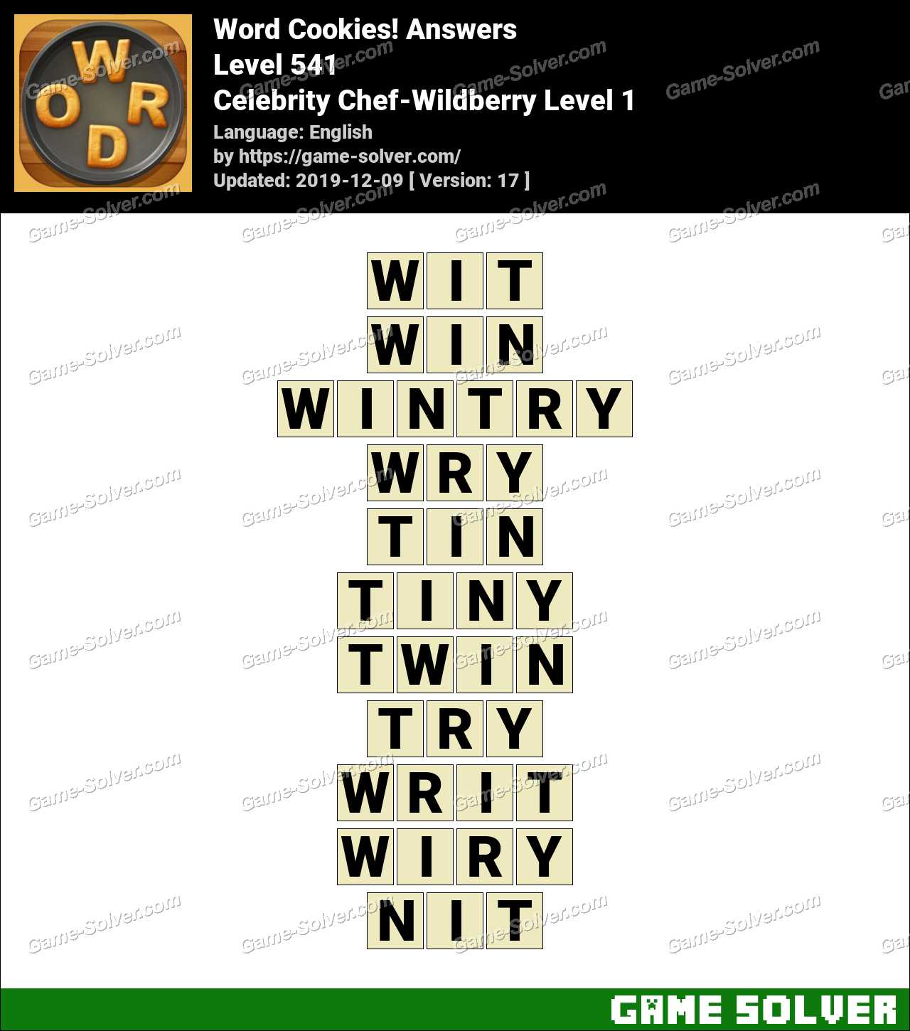 Word Cookies Celebrity Chef-Wildberry Level 1 Answers