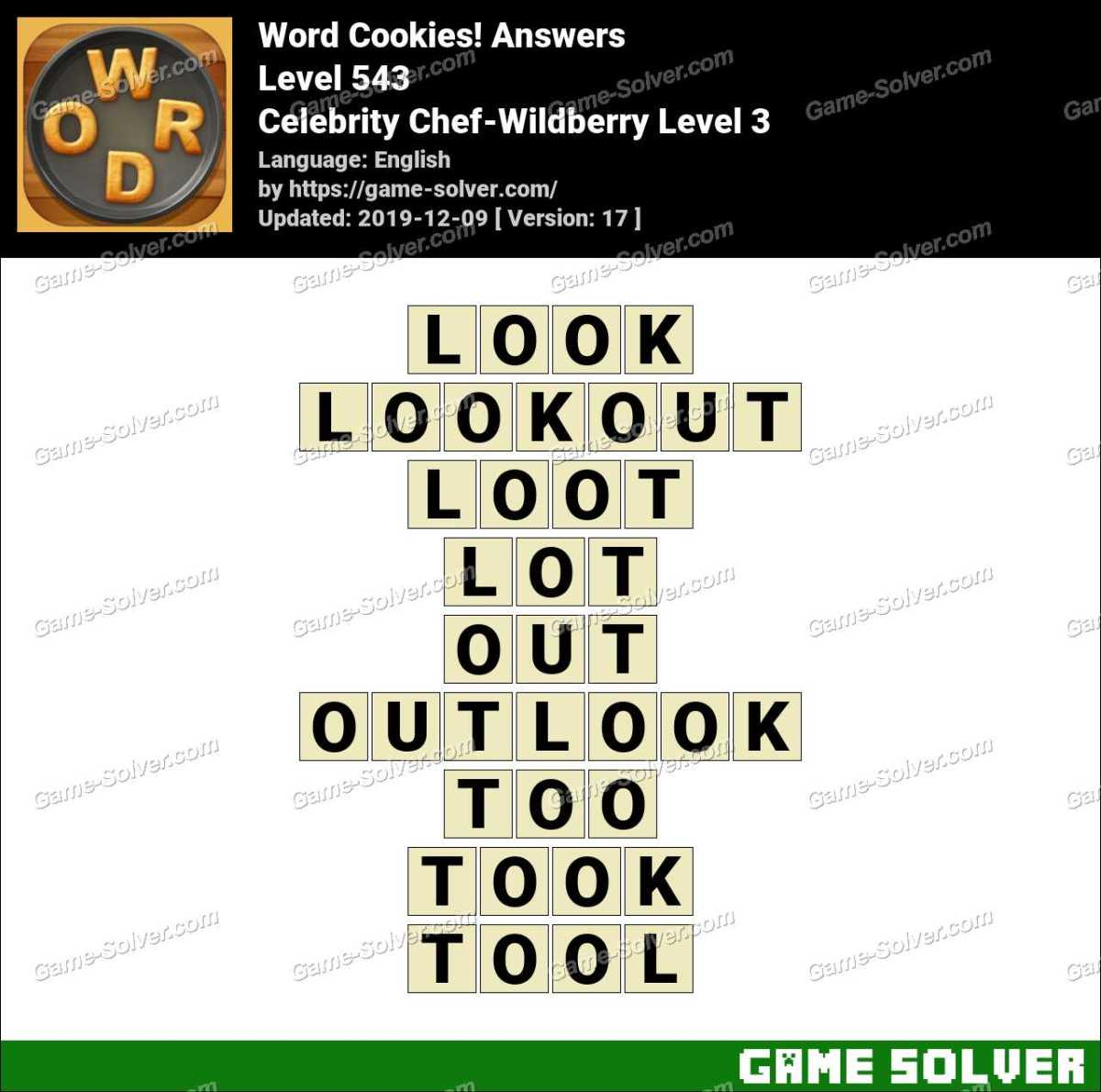 Word Cookies Celebrity Chef-Wildberry Level 3 Answers