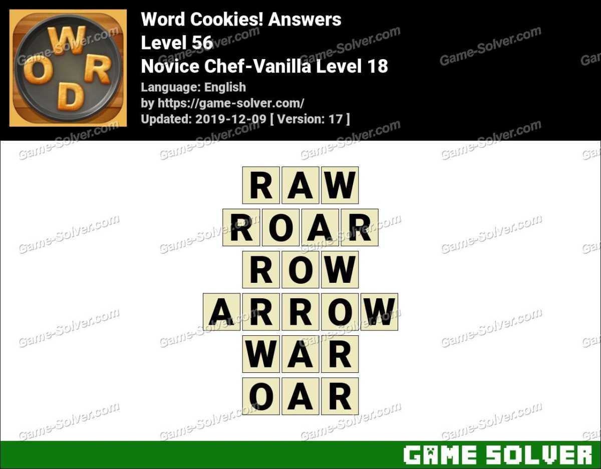 Word Cookies Novice Chef-Vanilla Level 18 Answers