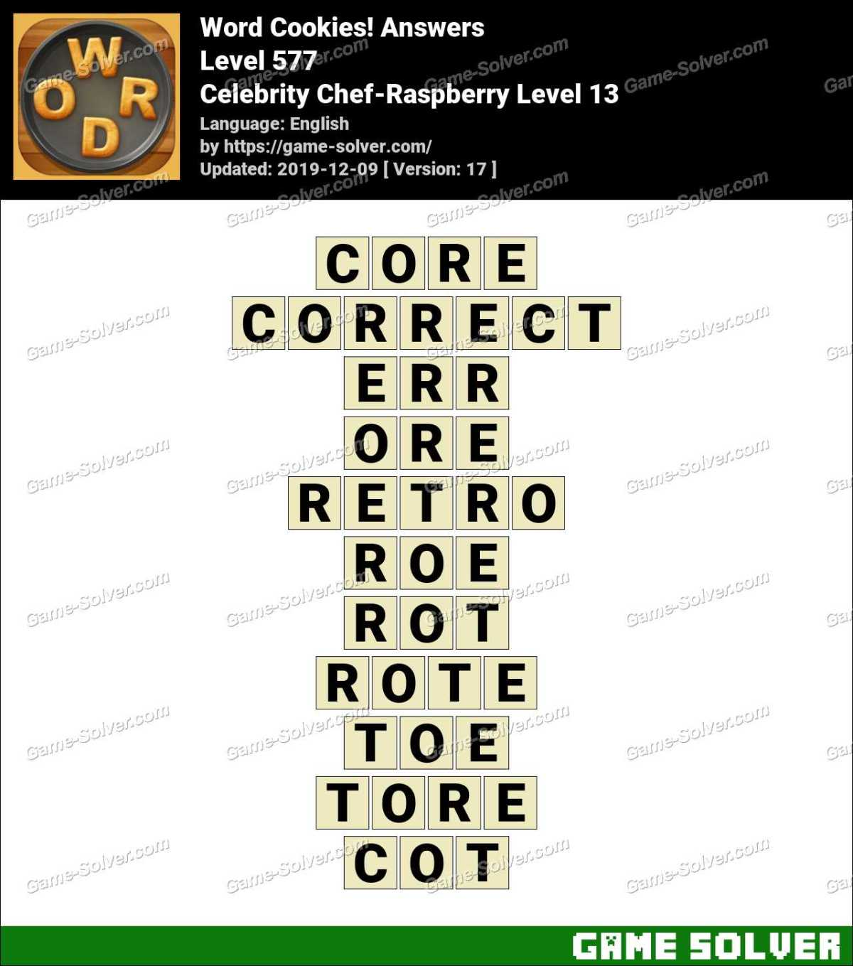 Word Cookies Celebrity Chef-Raspberry Level 13 Answers
