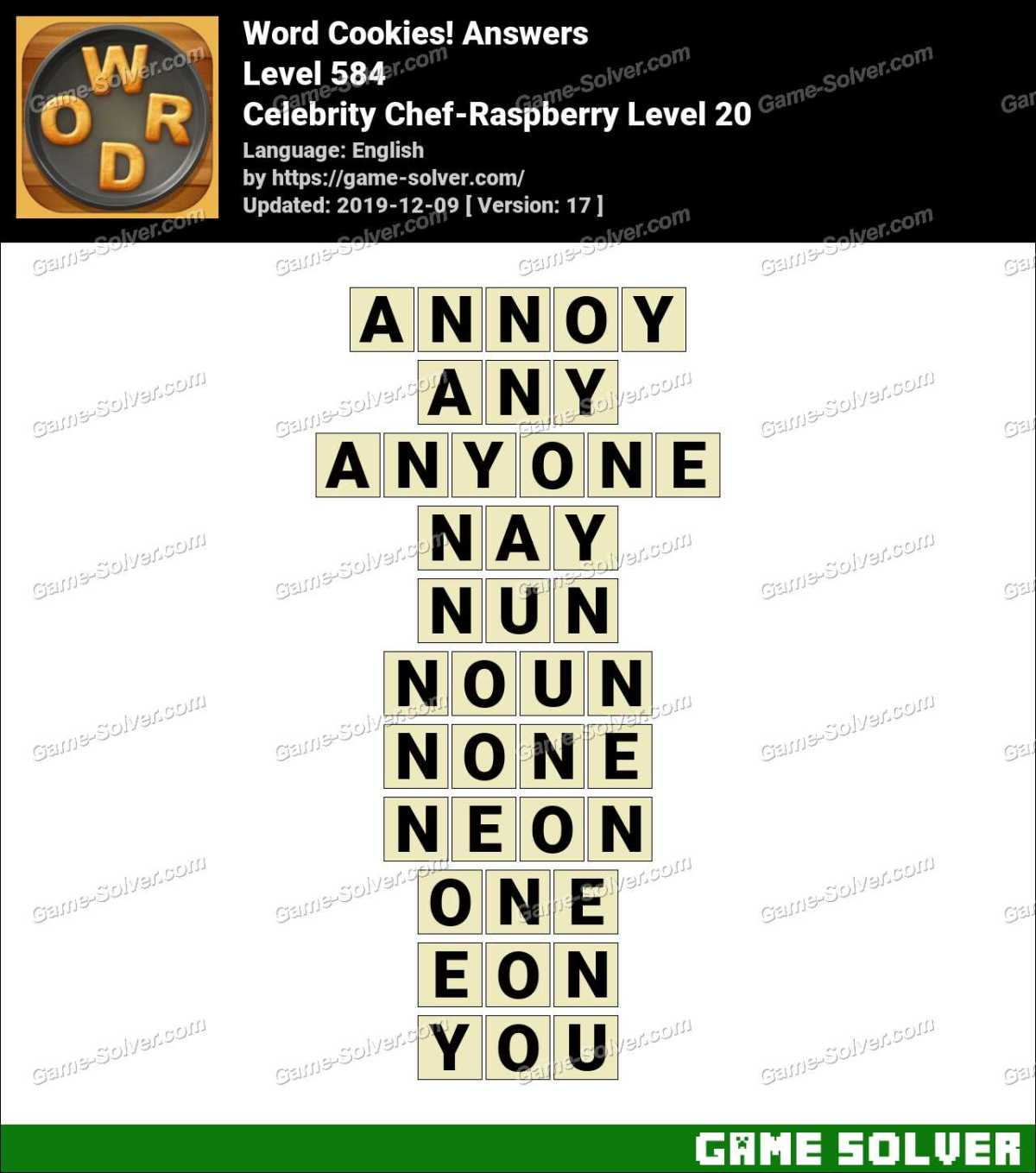 Word Cookies Celebrity Chef-Raspberry Level 20 Answers