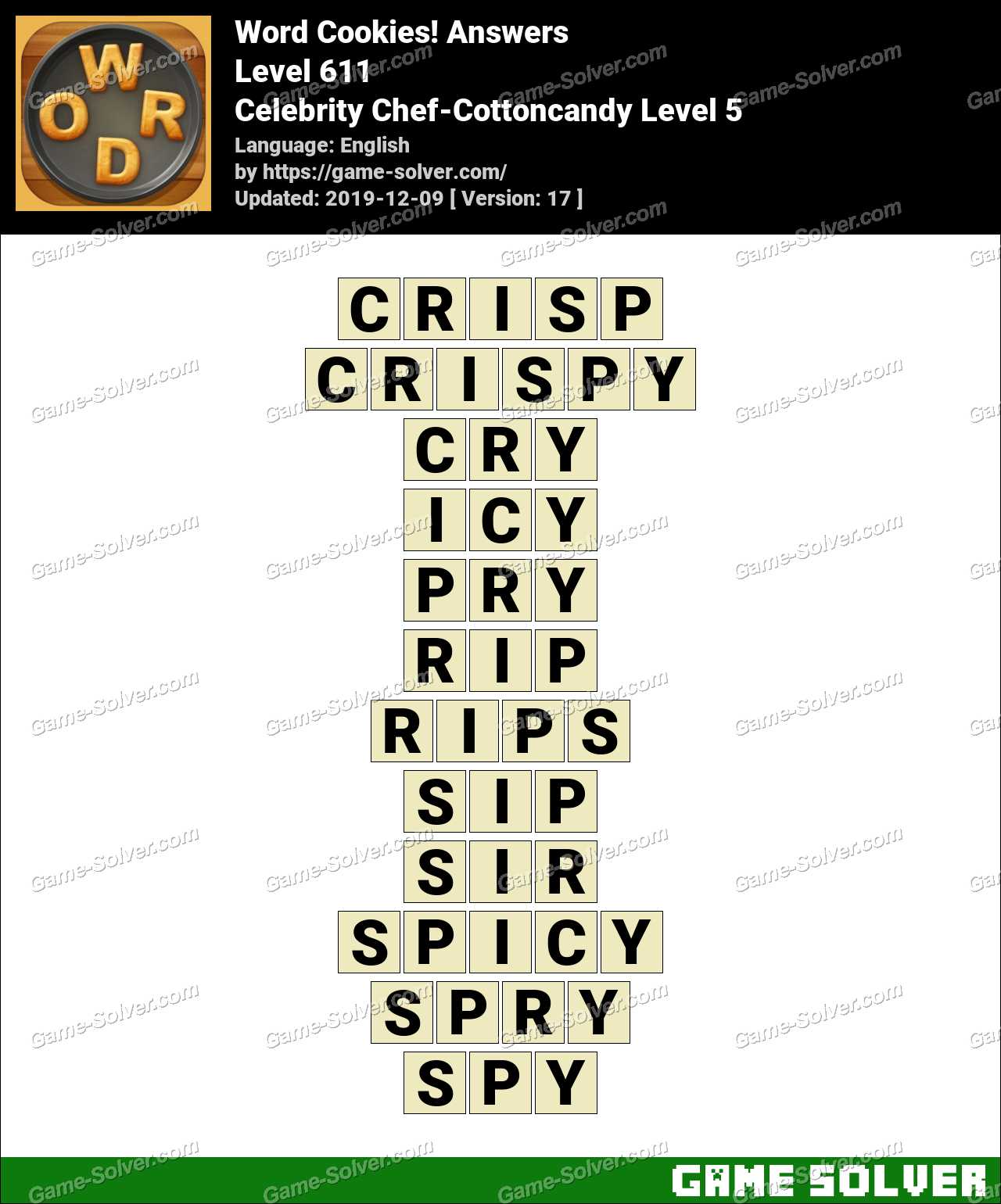 Word Cookies Celebrity Chef-Cottoncandy Level 5 Answers