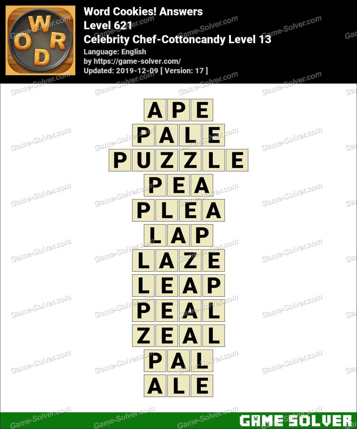 Word Cookies Celebrity Chef-Cottoncandy Level 13 Answers