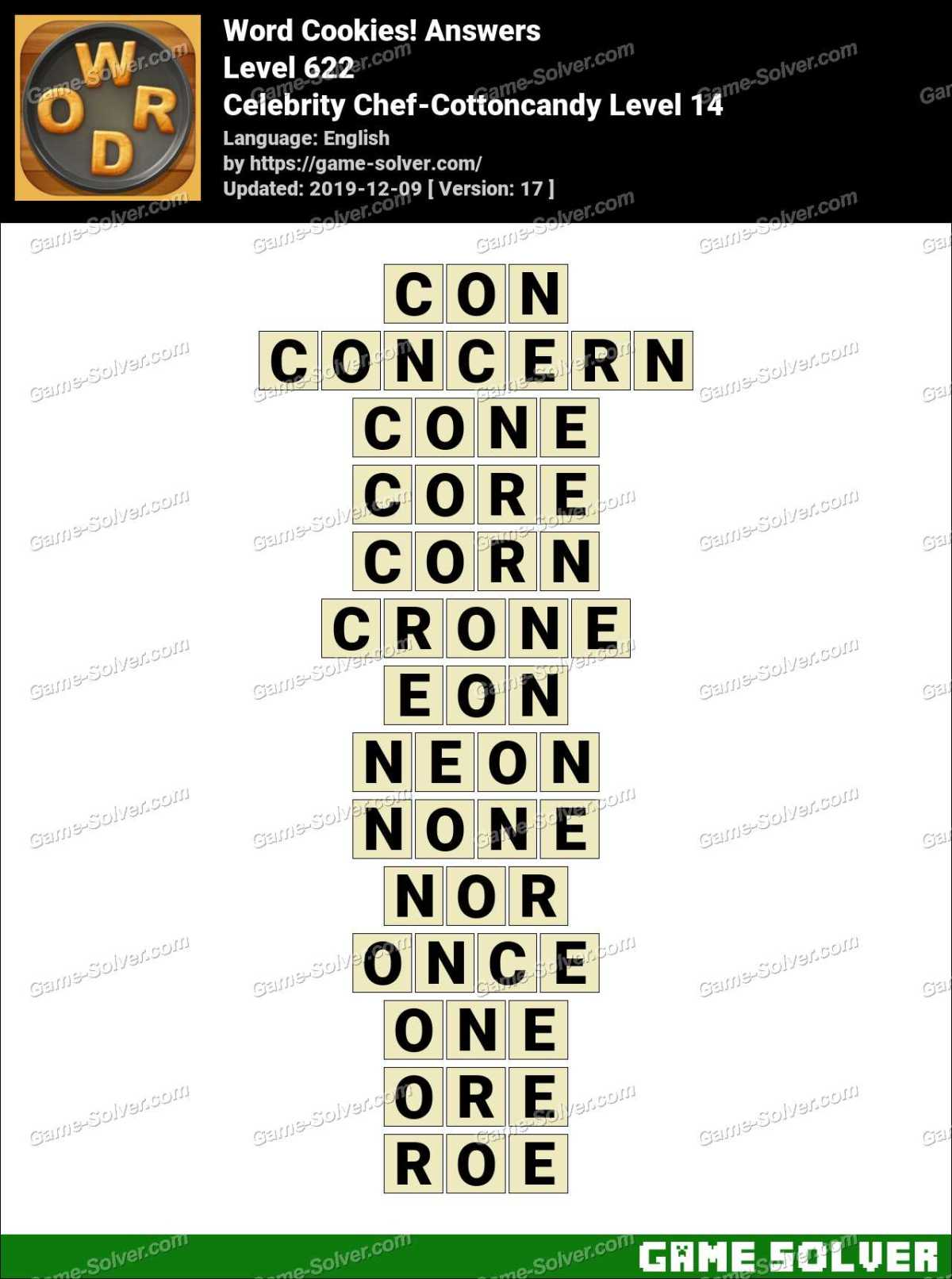 Word Cookies Celebrity Chef-Cottoncandy Level 14 Answers