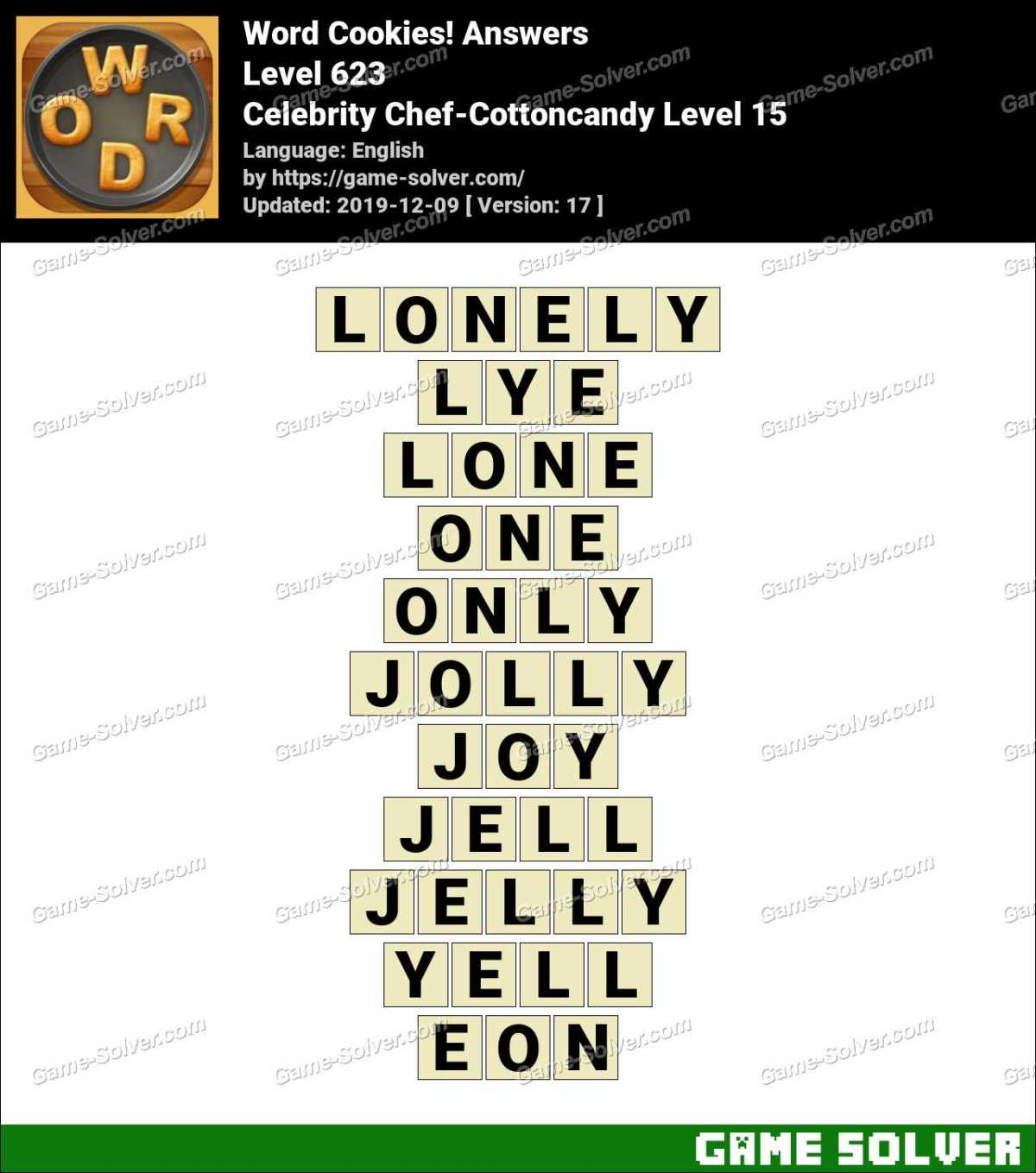 Word Cookies Celebrity Chef-Cottoncandy Level 15 Answers