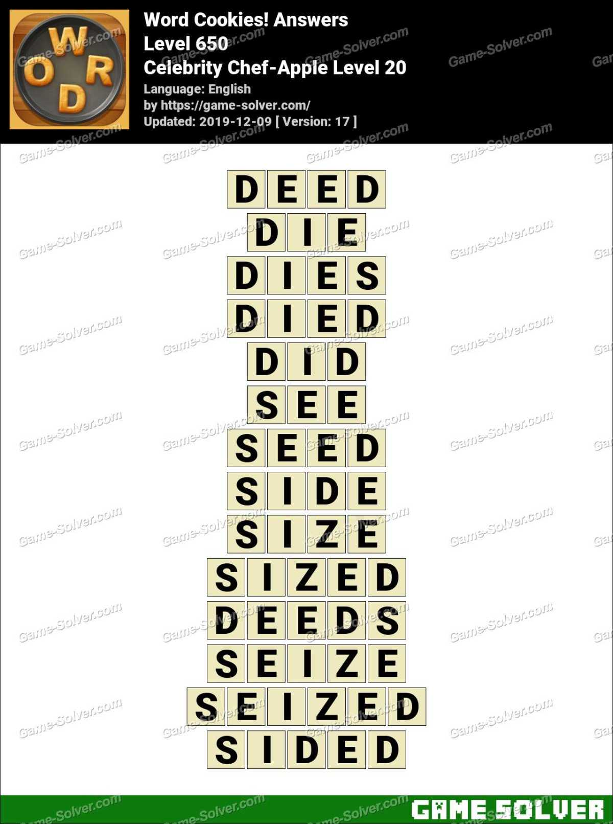 Word Cookies Celebrity Chef-Apple Level 20 Answers