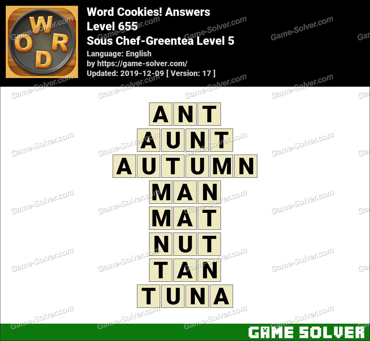 Word Cookies Sous Chef-Greentea Level 5 Answers