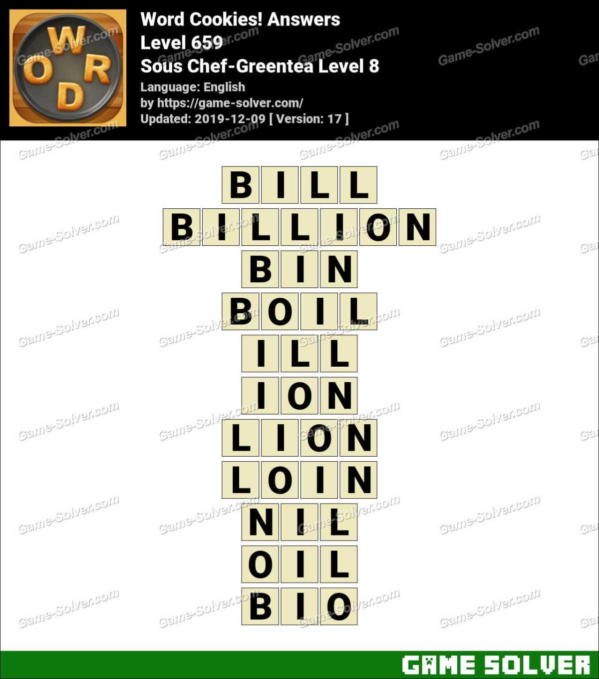 Word Cookies Sous Chef-Greentea Level 8 Answers