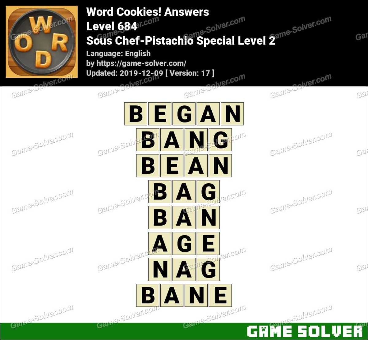 Word Cookies Sous Chef-Pistachio Special Level 2 Answers