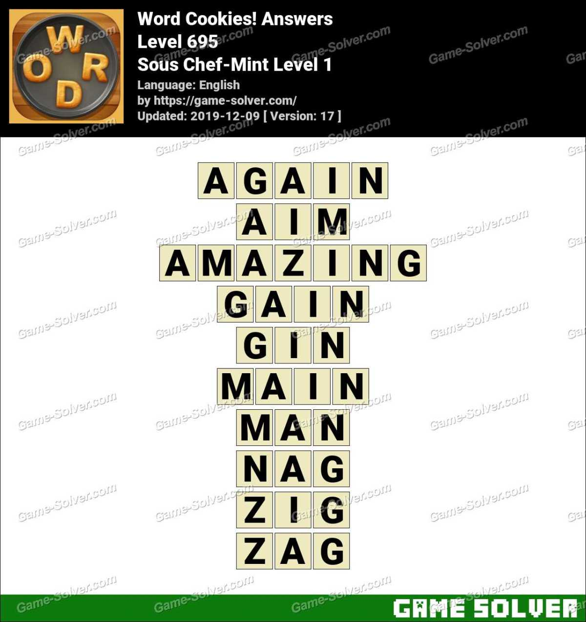 Word Cookies Sous Chef-Mint Level 1 Answers