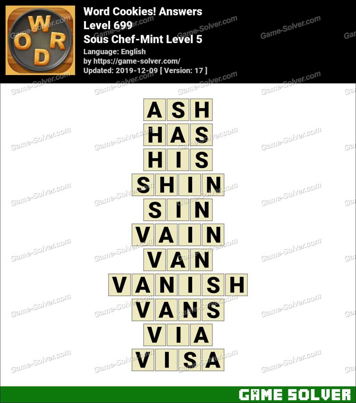Word Cookies Sous Chef-Mint Level 5 Answers