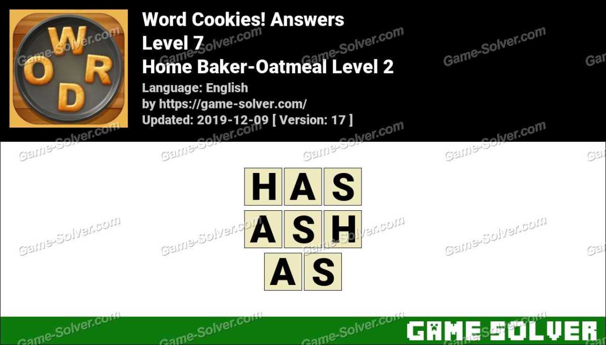 Word Cookies Home Baker-Oatmeal Level 2 Answers