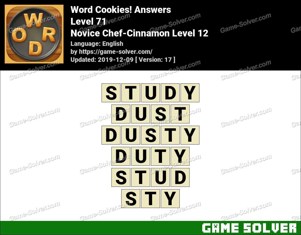 Word Cookies Novice Chef-Cinnamon Level 12 Answers