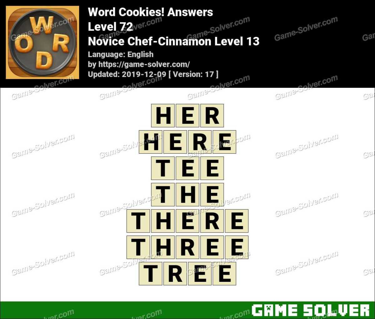 Word Cookies Novice Chef-Cinnamon Level 13 Answers