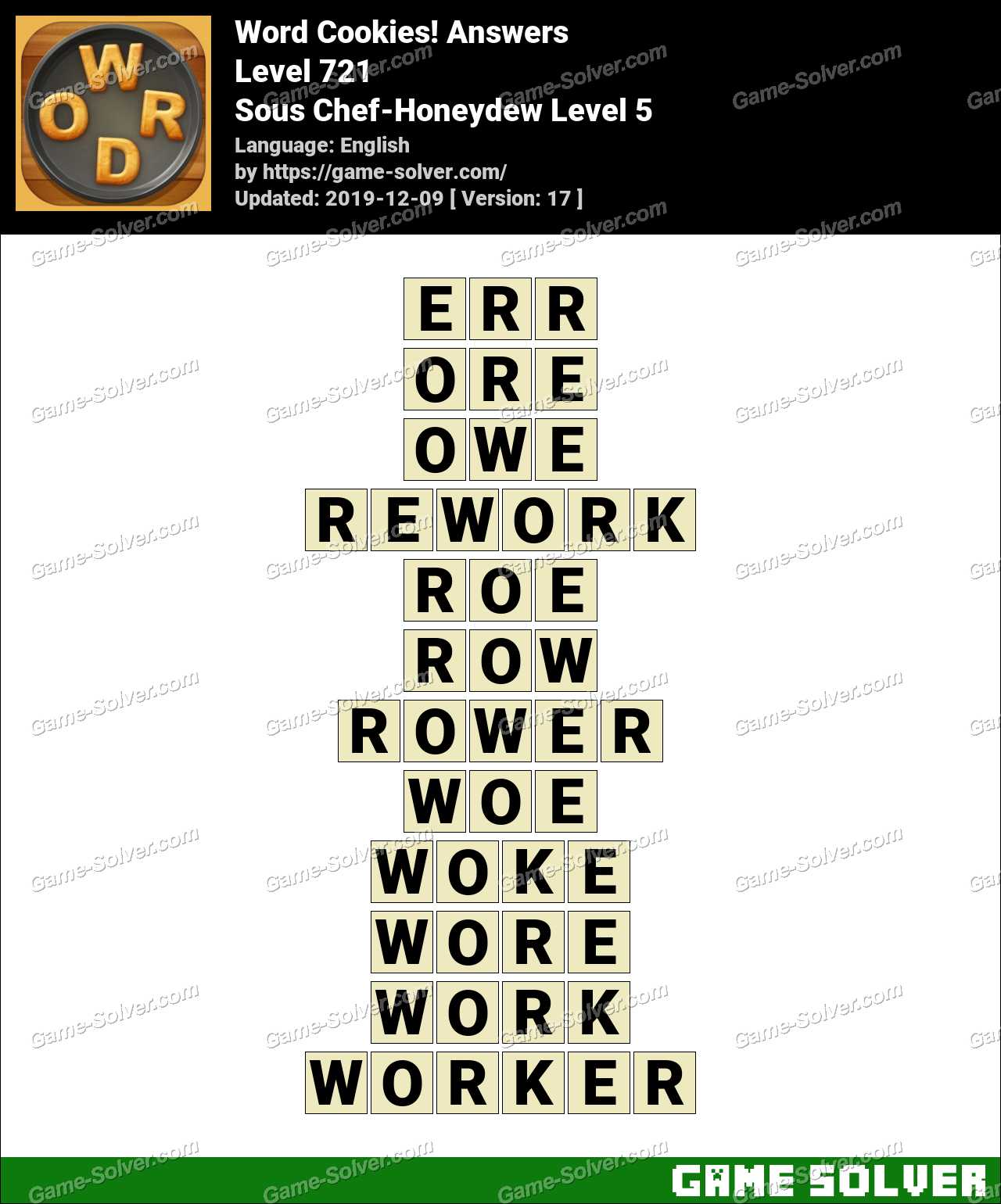 Word Cookies Sous Chef-Honeydew Level 5 Answers