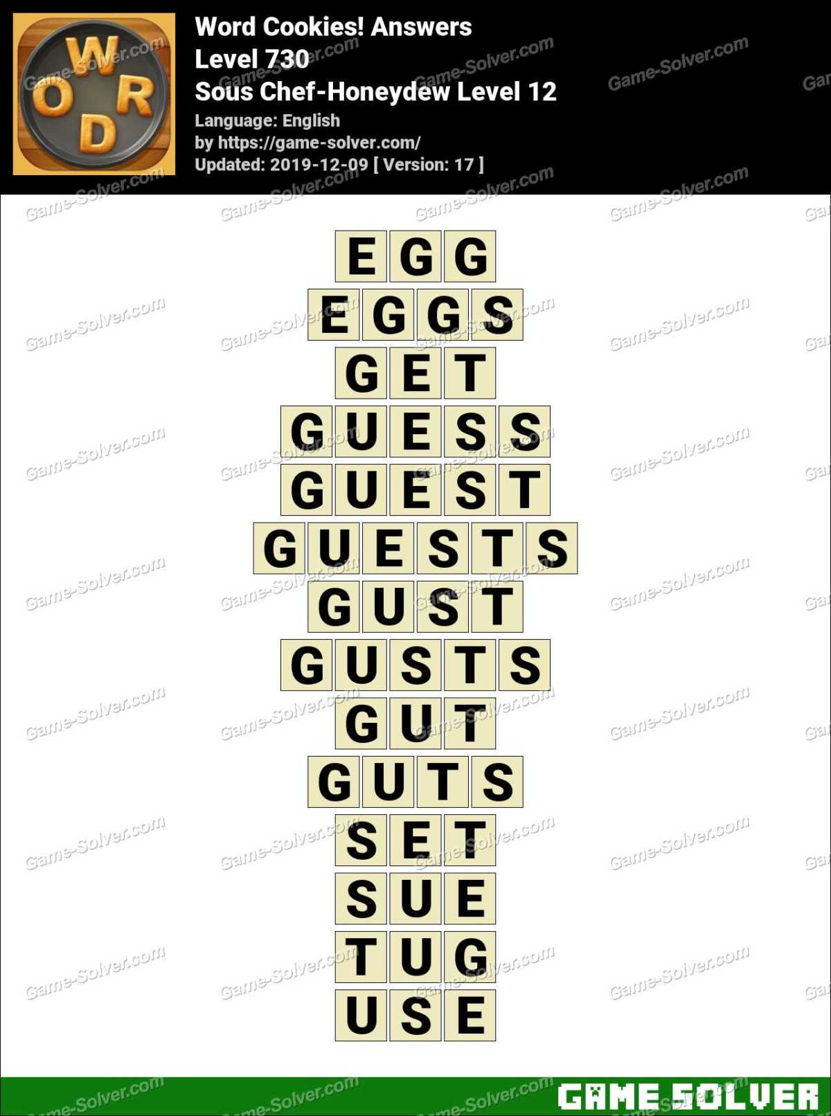 Word Cookies Sous Chef-Honeydew Level 12 Answers