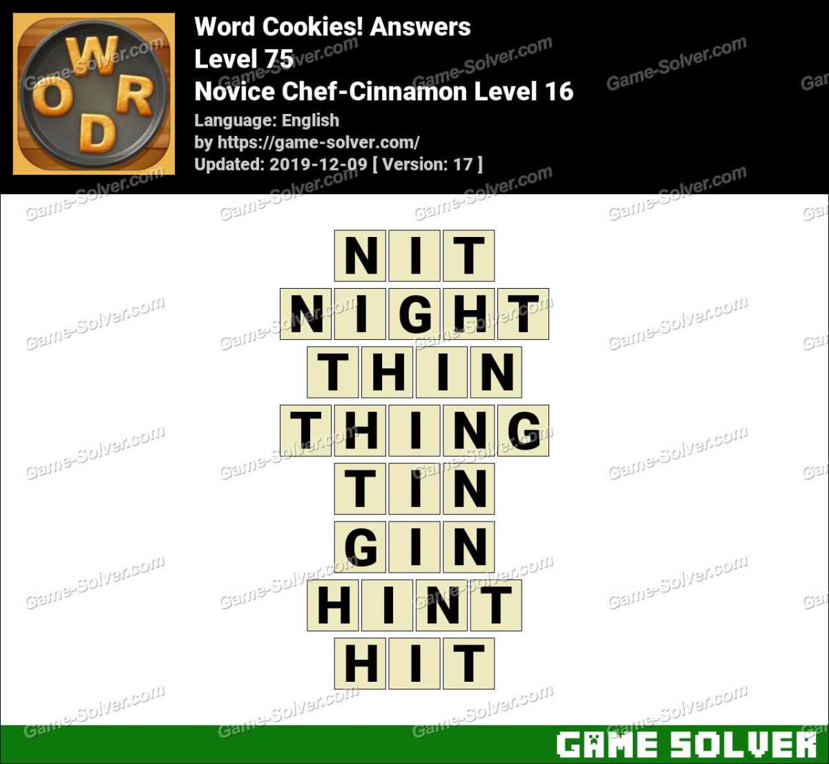 Word Cookies Novice Chef-Cinnamon Level 16 Answers