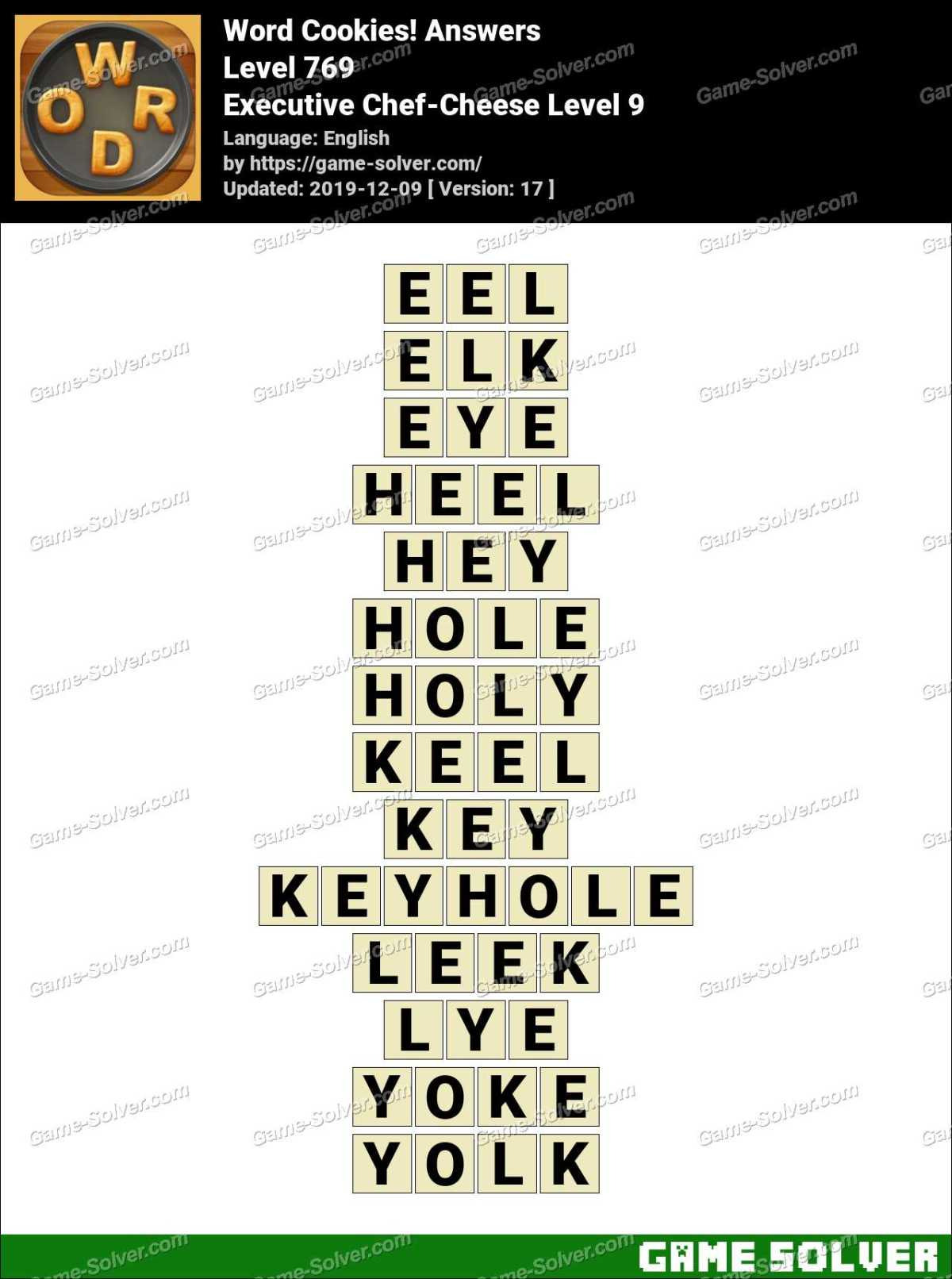 Word Cookies Executive Chef-Cheese Level 9 Answers