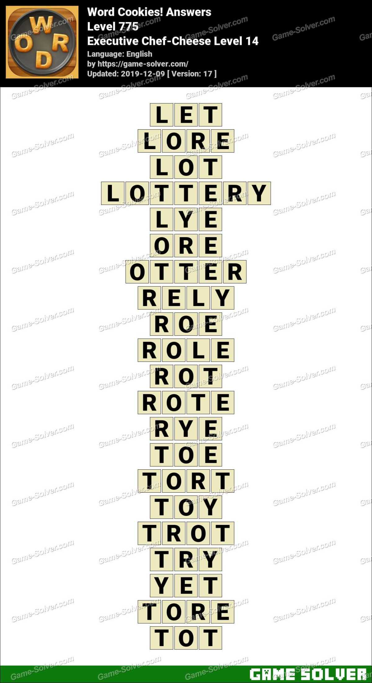 Word Cookies Executive Chef-Cheese Level 14 Answers