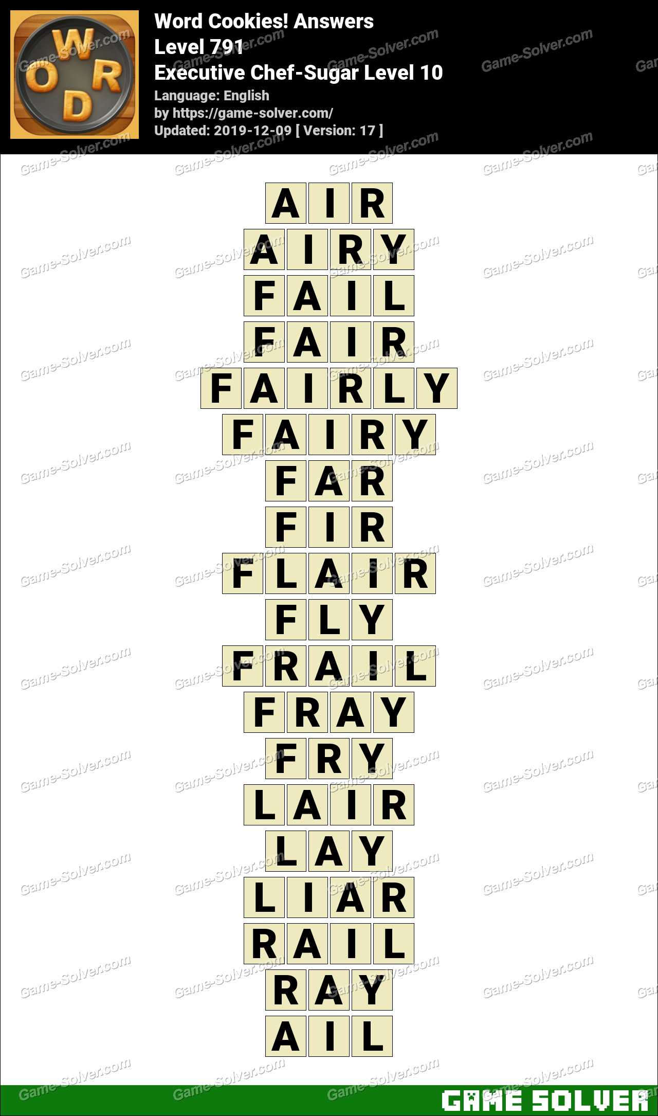 Word Cookies Executive Chef-Sugar Level 10 Answers