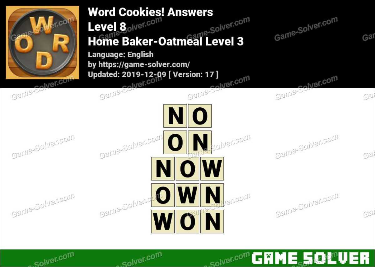 Word Cookies Home Baker-Oatmeal Level 3 Answers