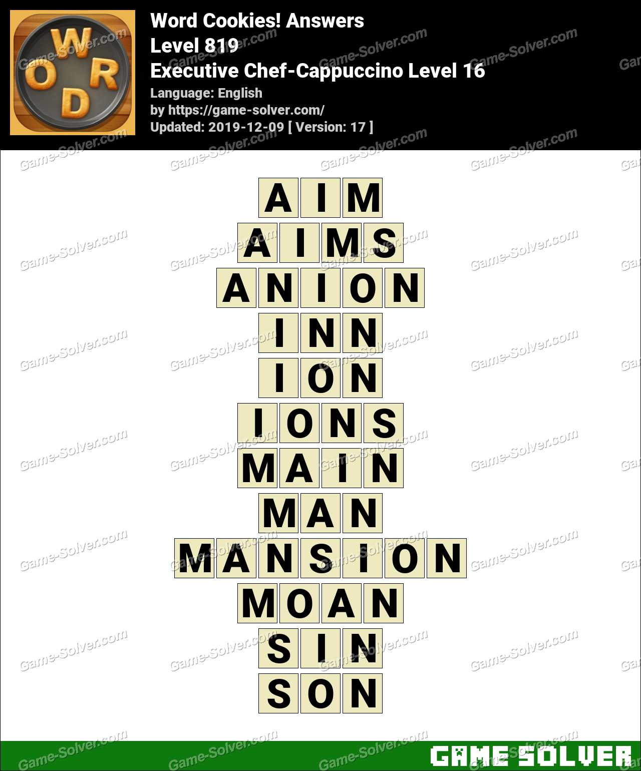 Word Cookies Executive Chef-Cappuccino Level 16 Answers