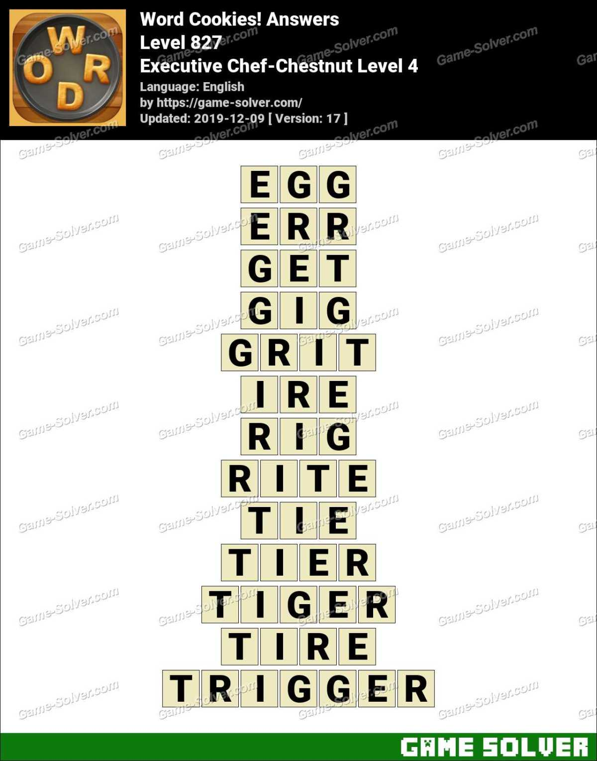Word Cookies Executive Chef-Chestnut Level 4 Answers