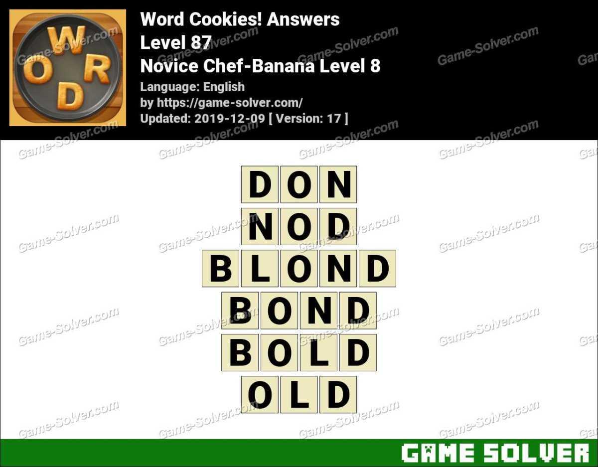 Word Cookies Novice Chef-Banana Level 8 Answers