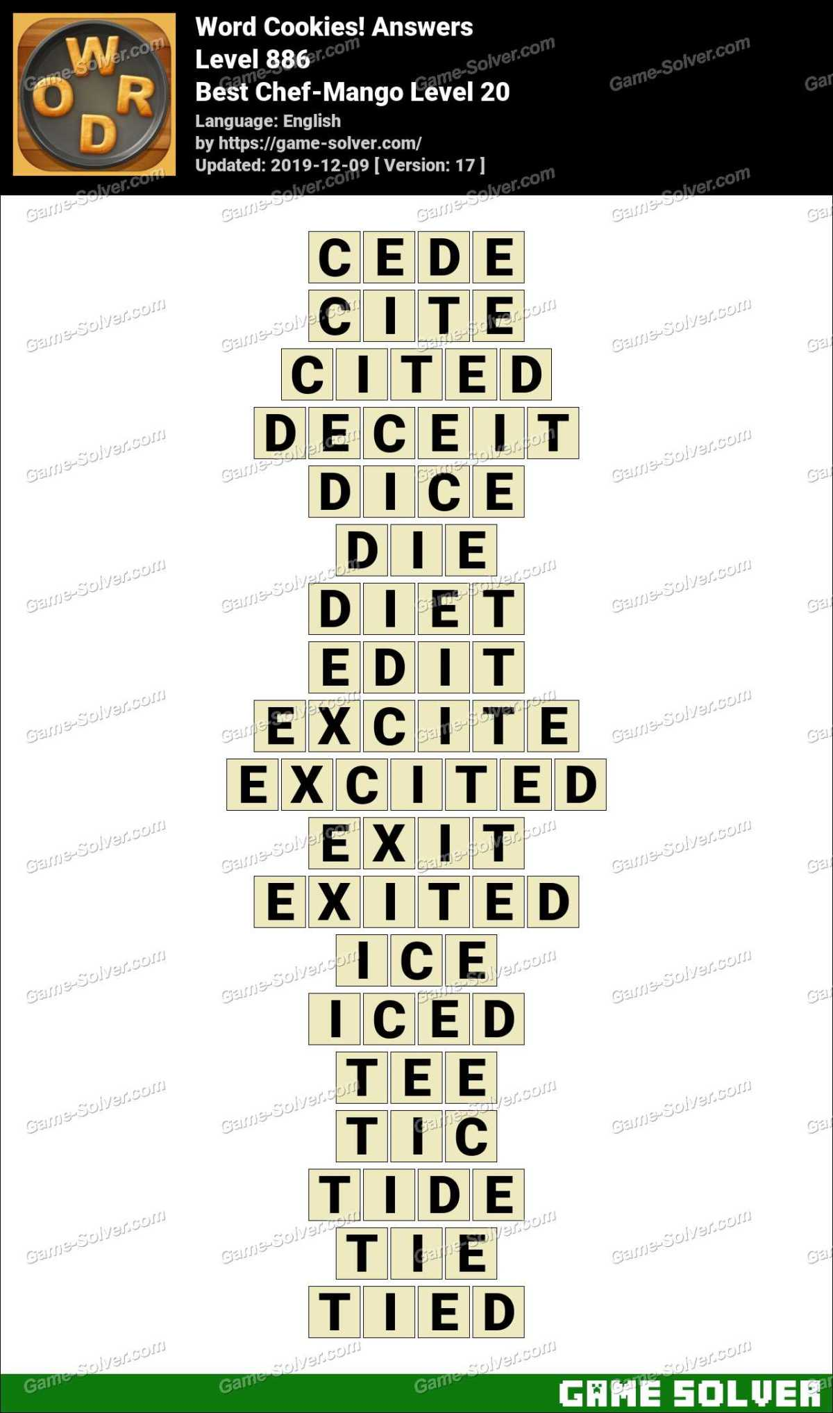 Word Cookies Best Chef-Mango Level 20 Answers