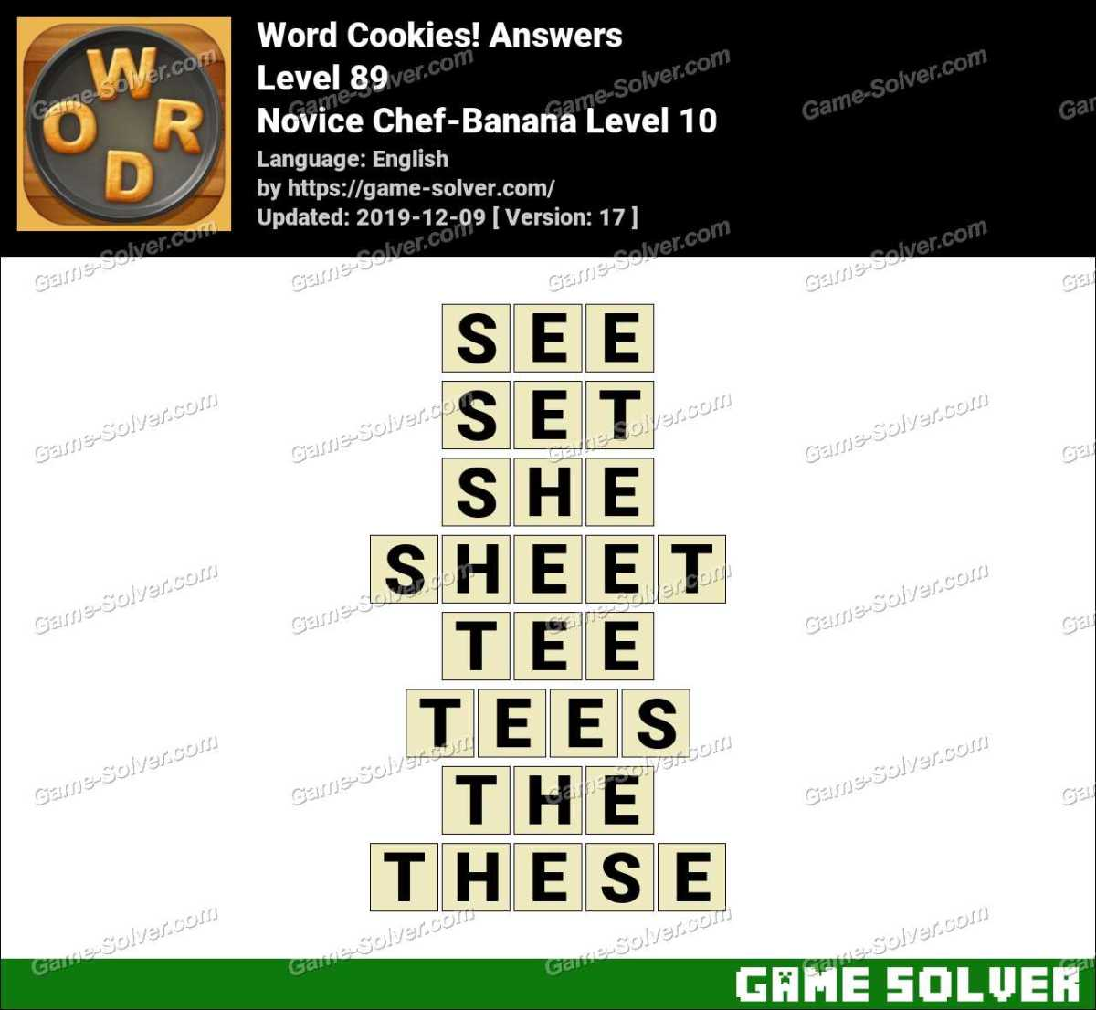 Word Cookies Novice Chef-Banana Level 10 Answers