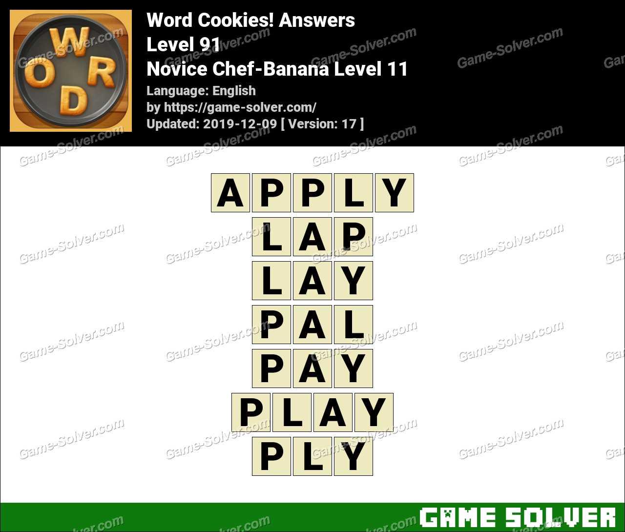 Word Cookies Novice Chef-Banana Level 11 Answers