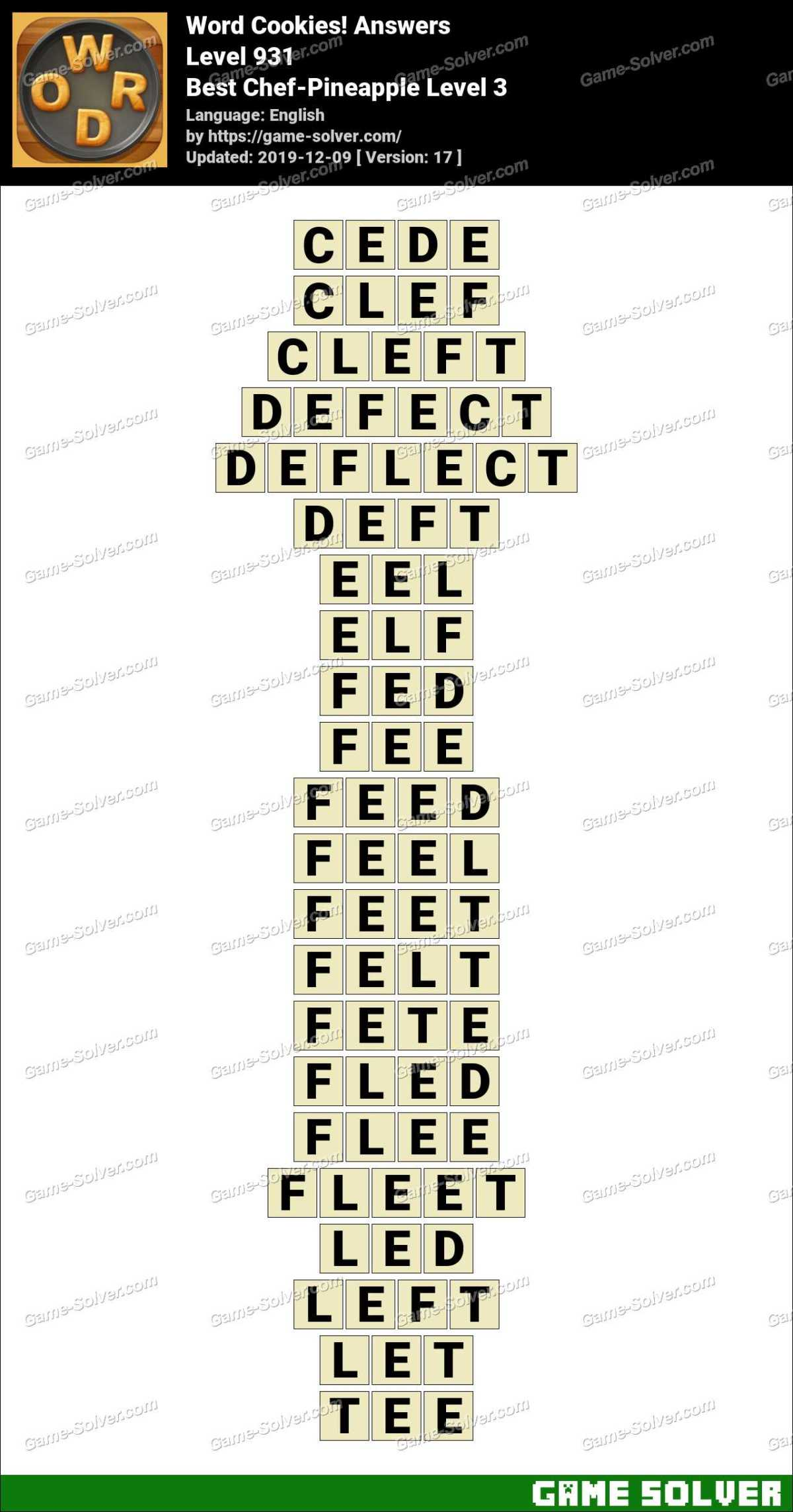 Word Cookies Best Chef-Pineapple Level 3 Answers