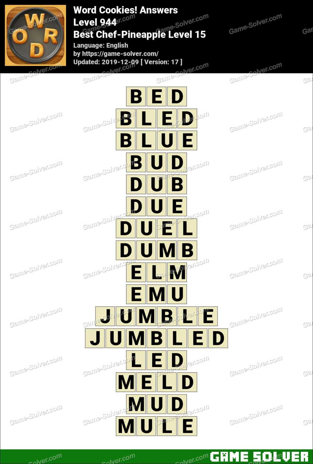 Word Cookies Best Chef-Pineapple Level 15 Answers
