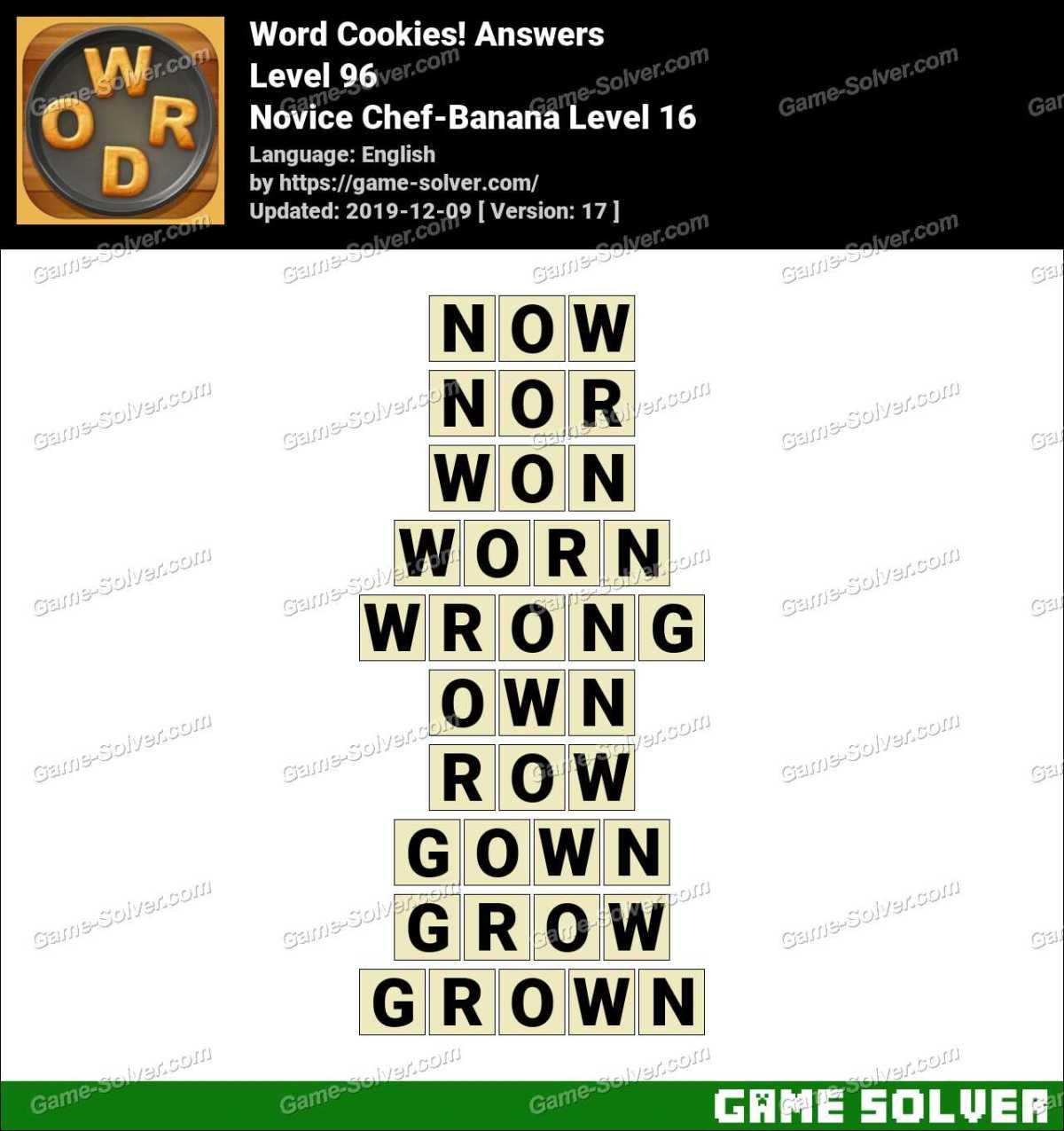 Word Cookies Novice Chef-Banana Level 16 Answers