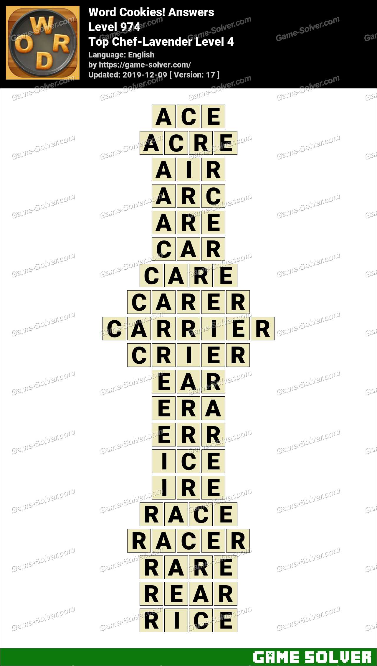 Word Cookies Top Chef-Lavender Level 4 Answers