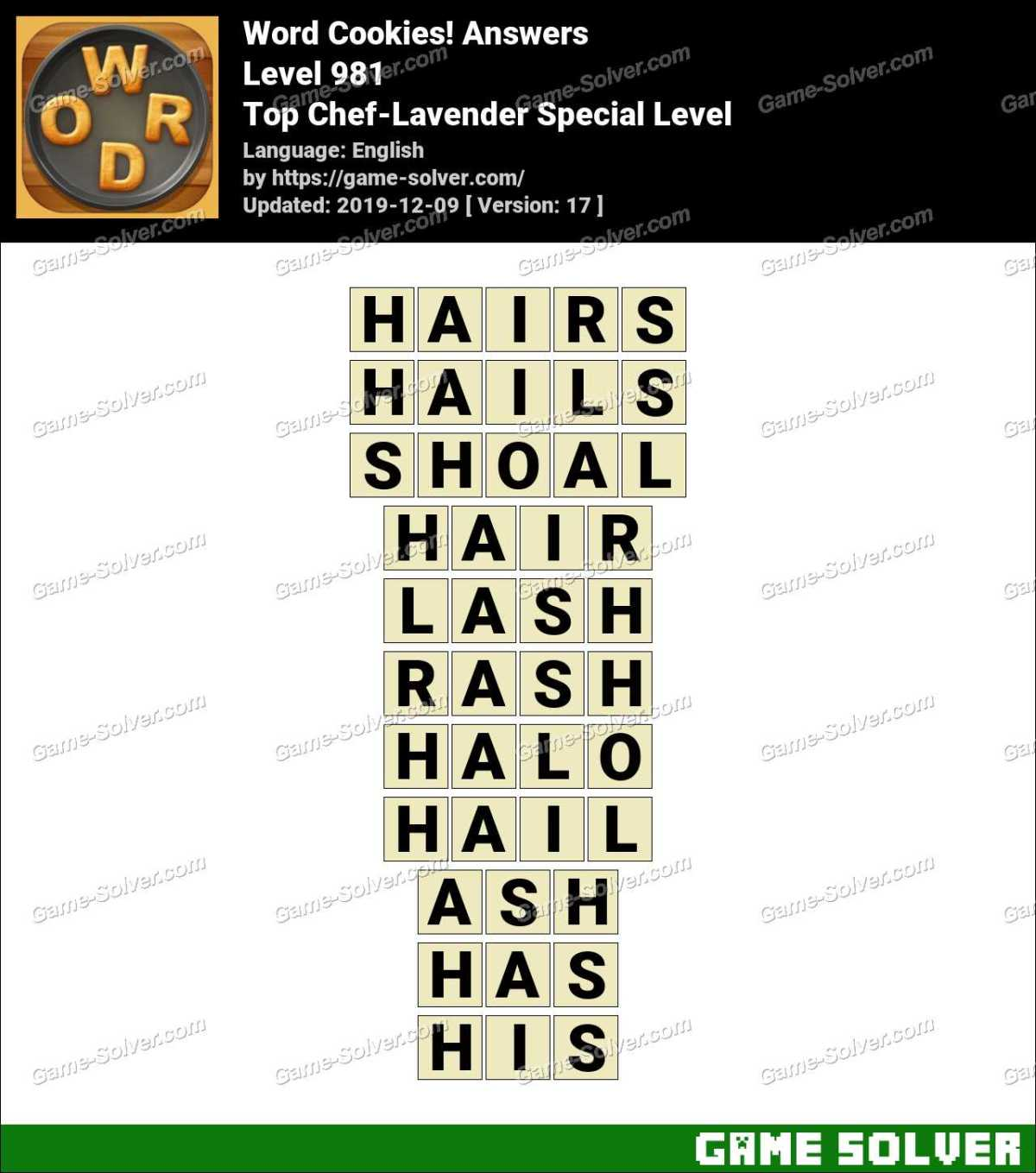 Word Cookies Top Chef-Lavender Special Level Answers