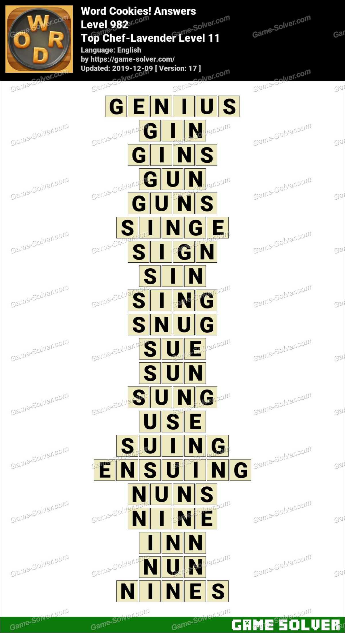 Word Cookies Top Chef-Lavender Level 11 Answers