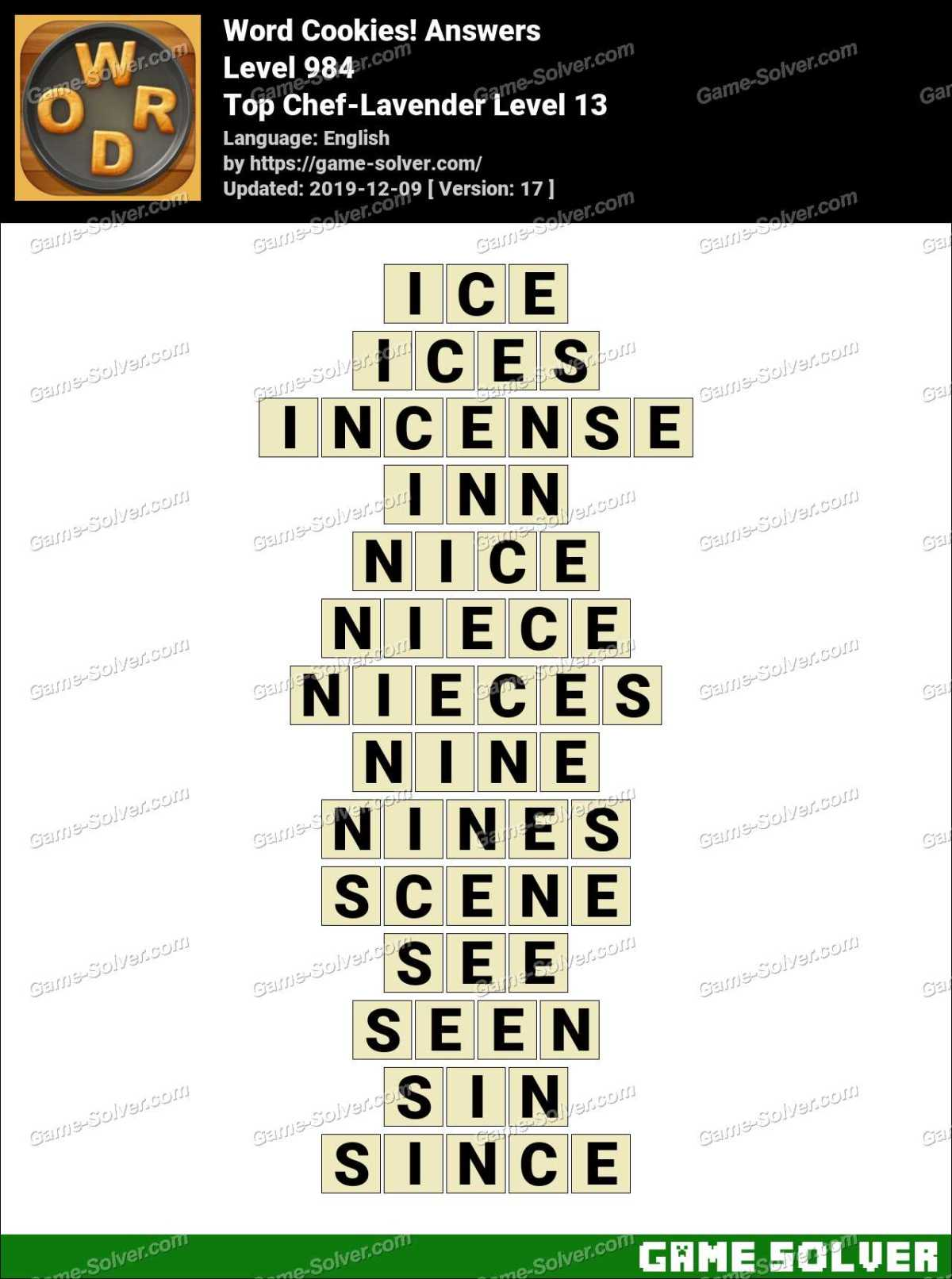 Word Cookies Top Chef-Lavender Level 13 Answers
