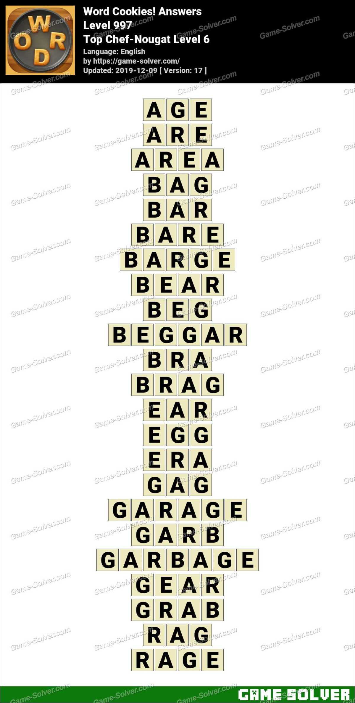 Word Cookies Top Chef-Nougat Level 6 Answers