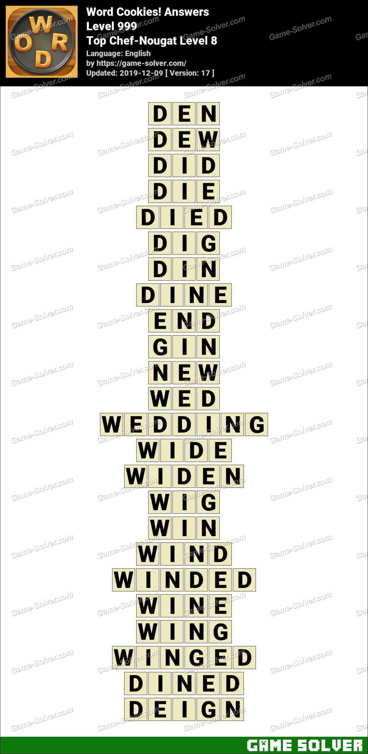 Word Cookies Top Chef-Nougat Level 8 Answers