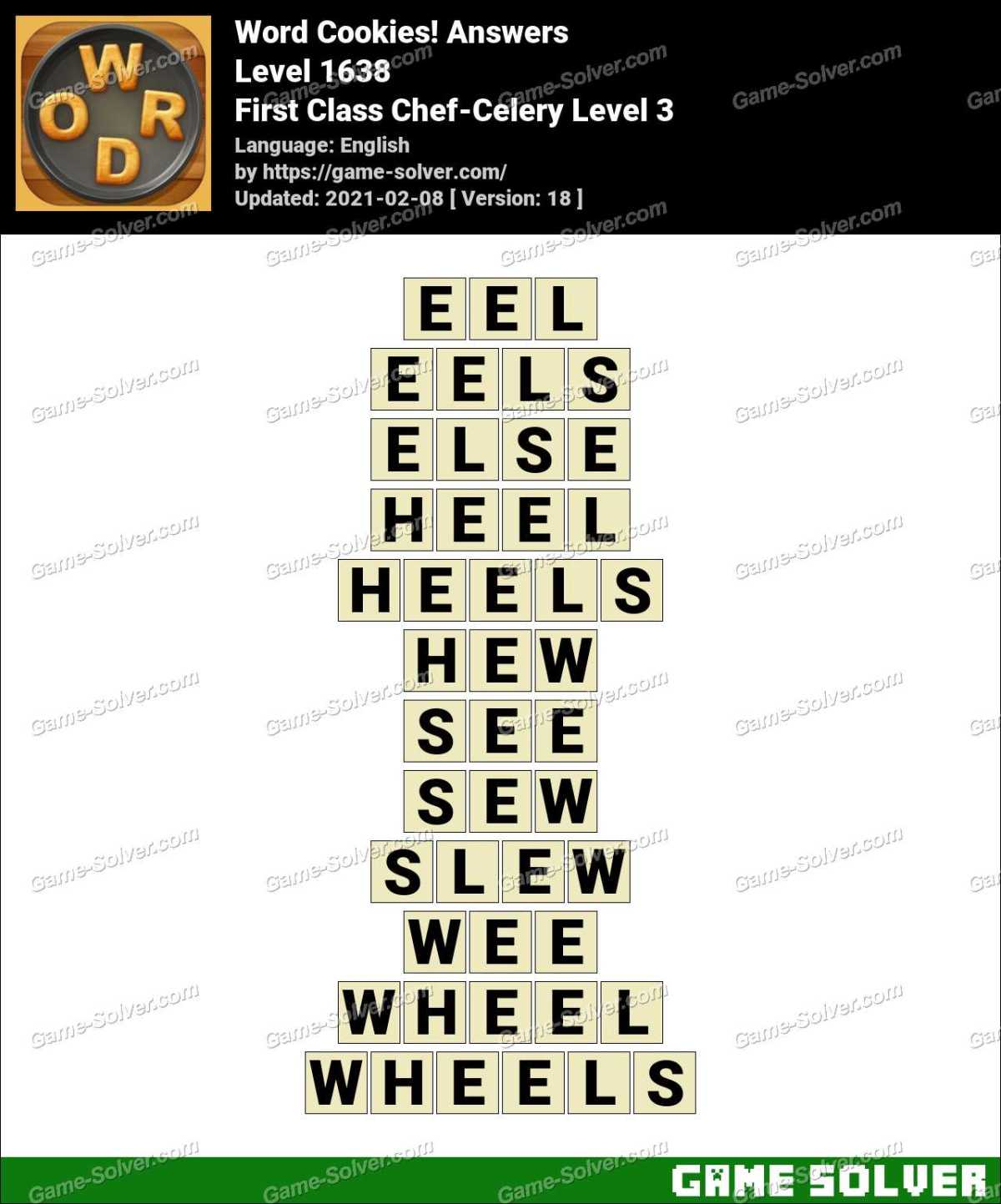 Word Cookies First Class Chef-Celery Level 3 Answers