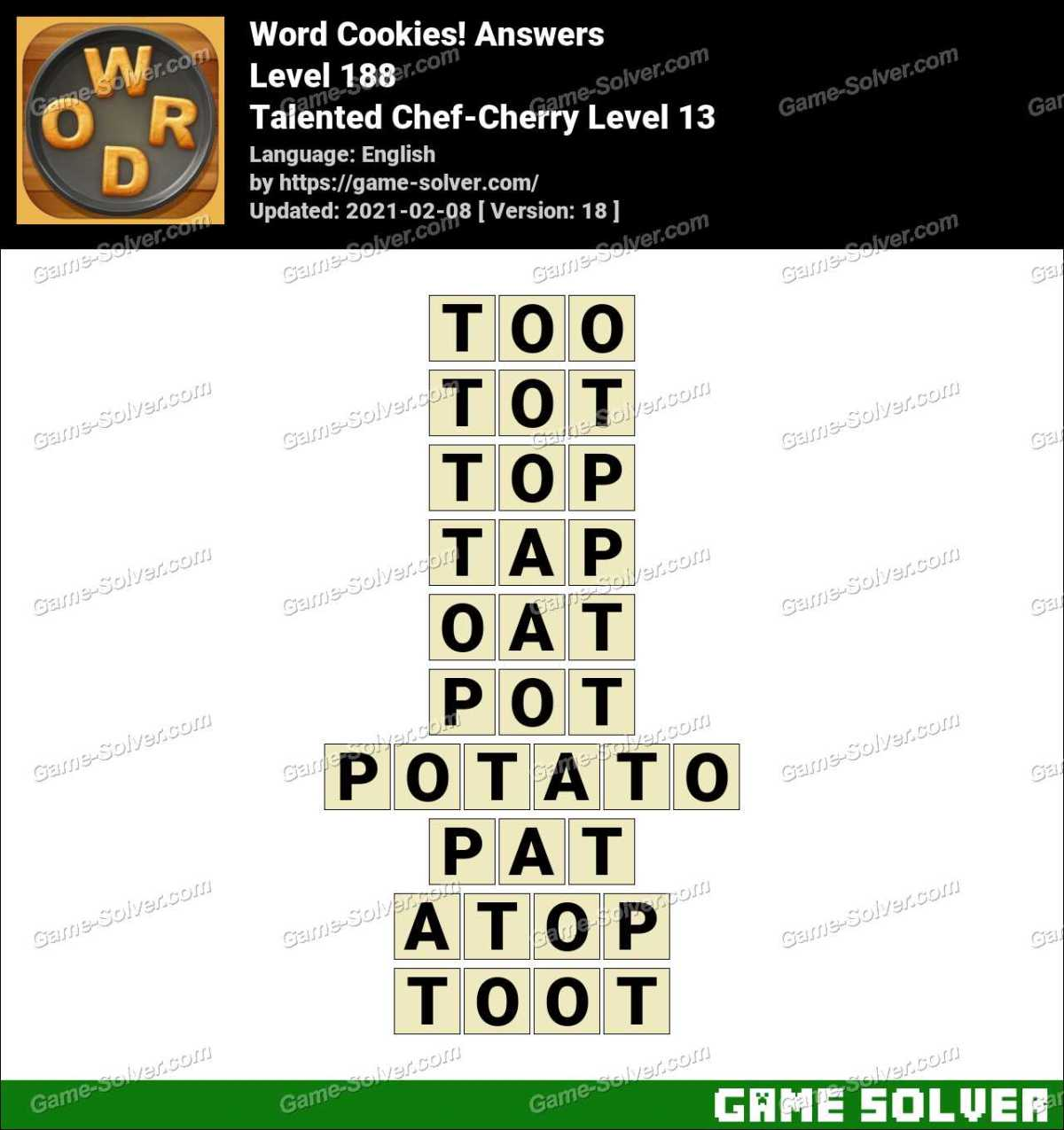Word Cookies Talented Chef Cherry Level 13 Answers Game Solver