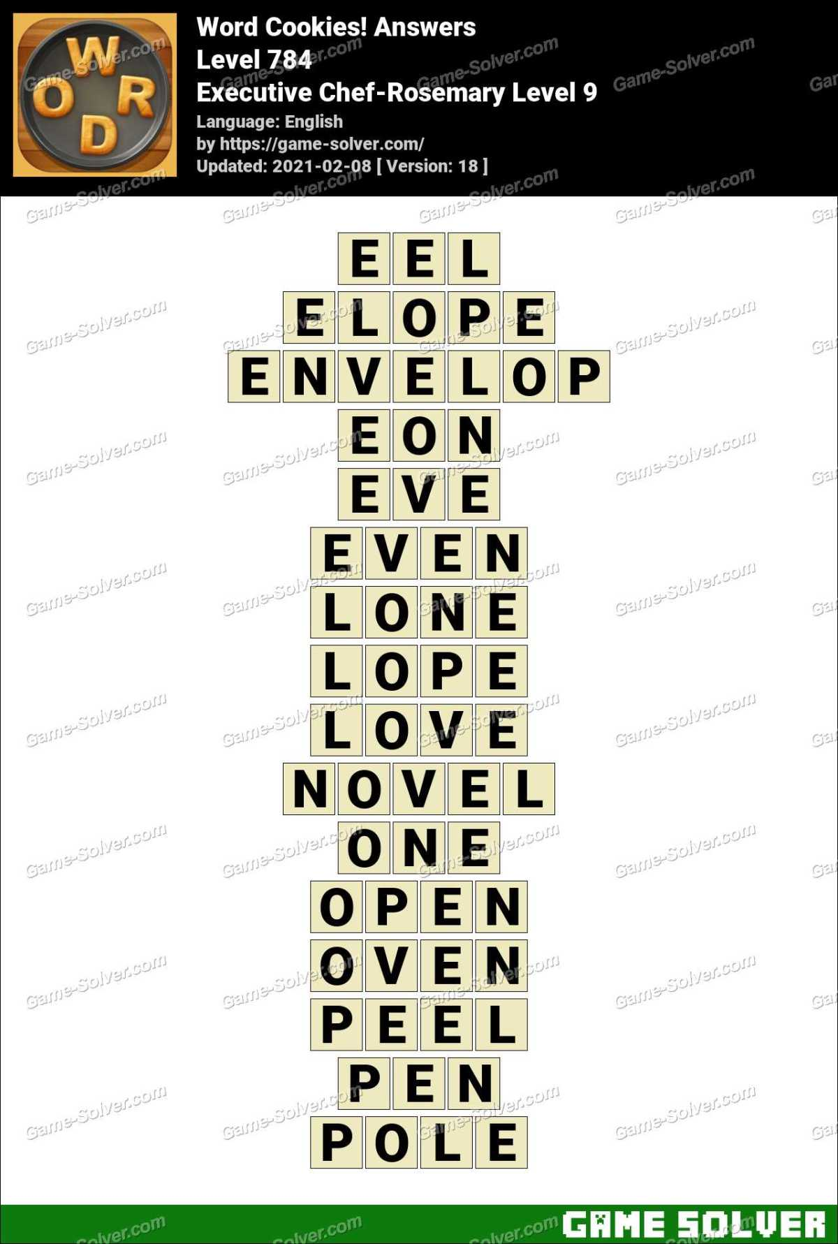 Word Cookies Executive Chef-Rosemary Level 9 Answers