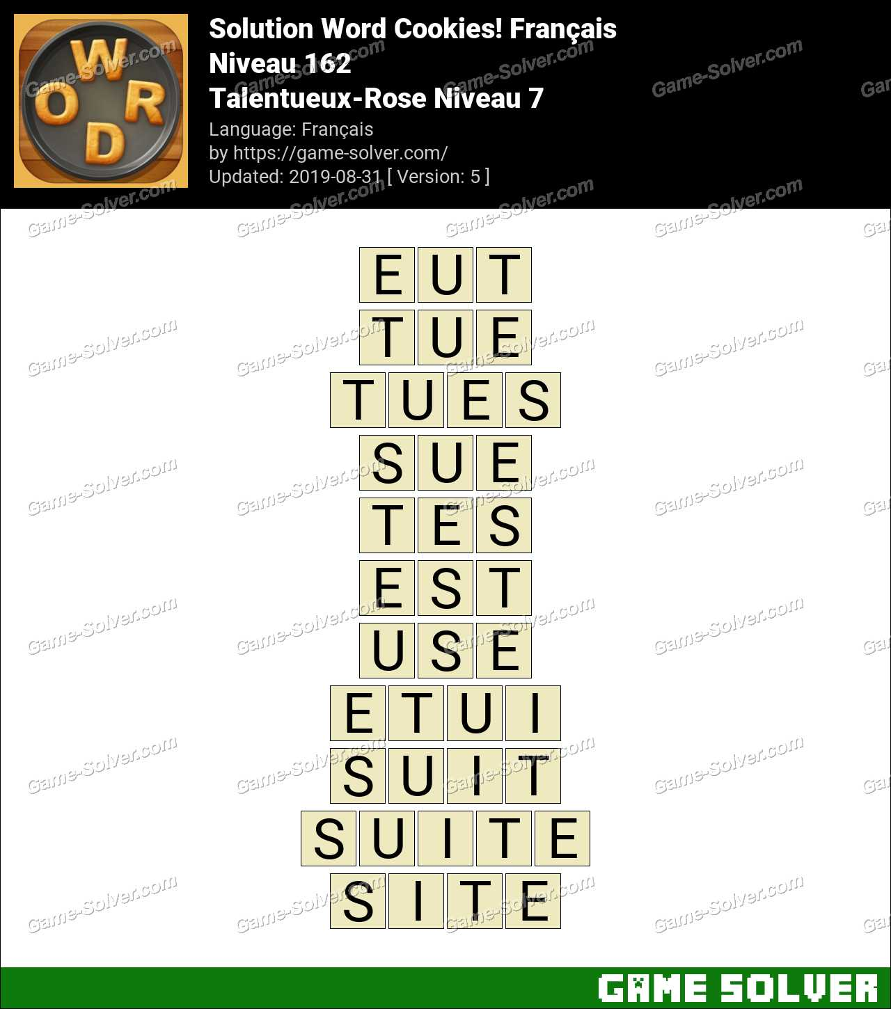 Solution Word Cookies Talentueux-Rose Niveau 7