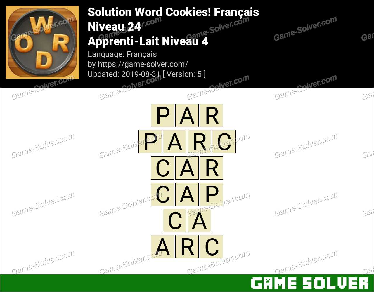 Solution Word Cookies Apprenti-Lait Niveau 4